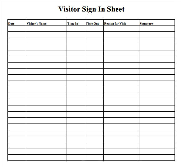 Sample Visitor Sign in Sheet 6 Documents in Word PDF – Sign in Sheet