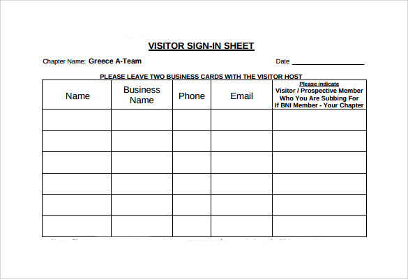 11 sample visitor sign in sheets sample templates