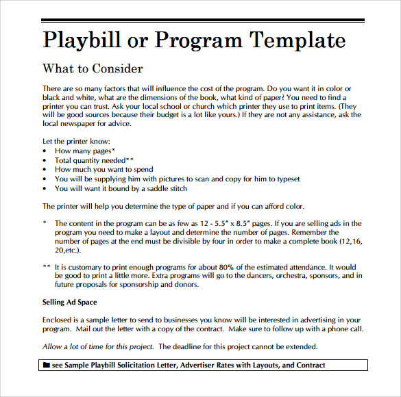 Blank Playbill Template | www.imgkid.com - The Image Kid ...