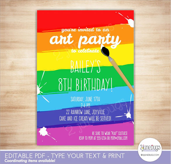 sample rainbow invitation template