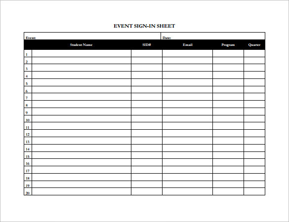 Sample Event Sign In Sheet - 9+ Documents In Pdf, Word