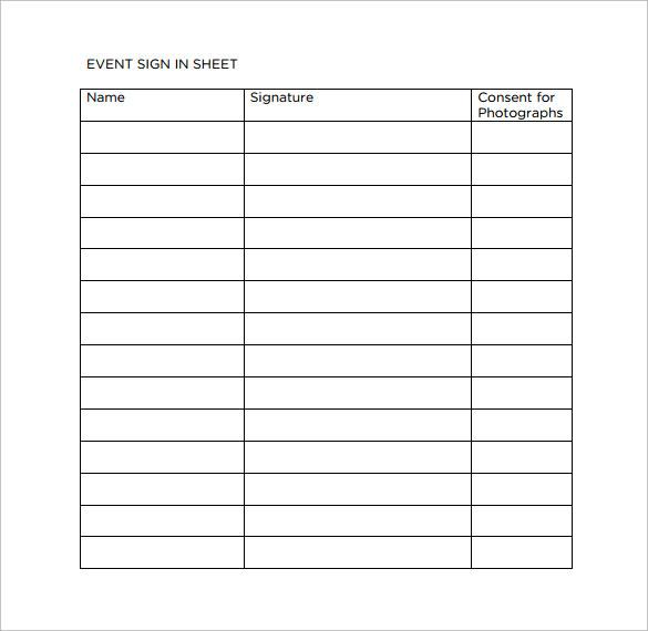 Sample Event Sign In Sheet   Documents In Pdf Word