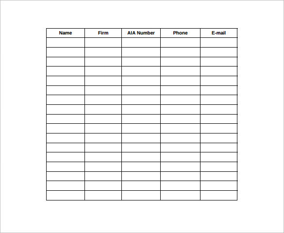 Sample Seminar Sign In Sheet   Documents In Word Pdf
