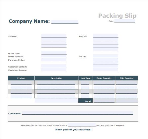 blank packing slip