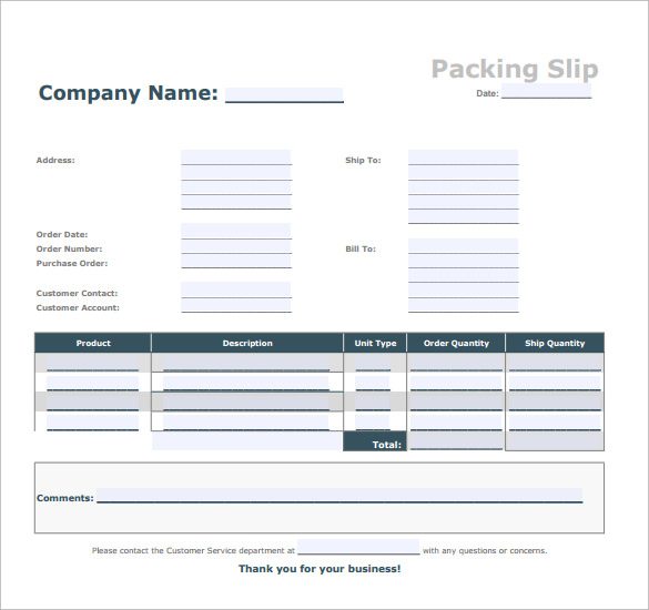 blank packing slip template