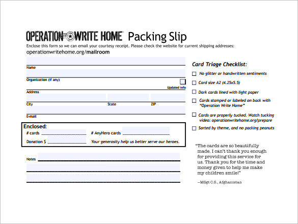 Sample Packing Slip  Packing Slip Form