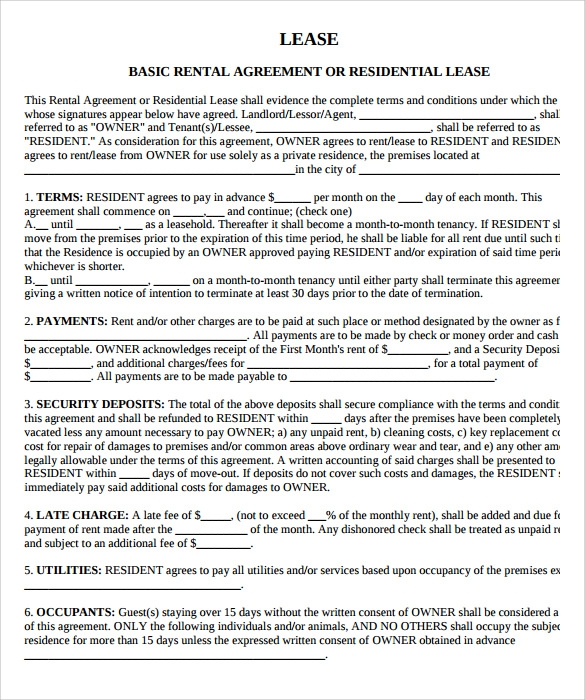 Sample Property Lease Agreement Template 8 Documents in PDF – Property Agreement Template