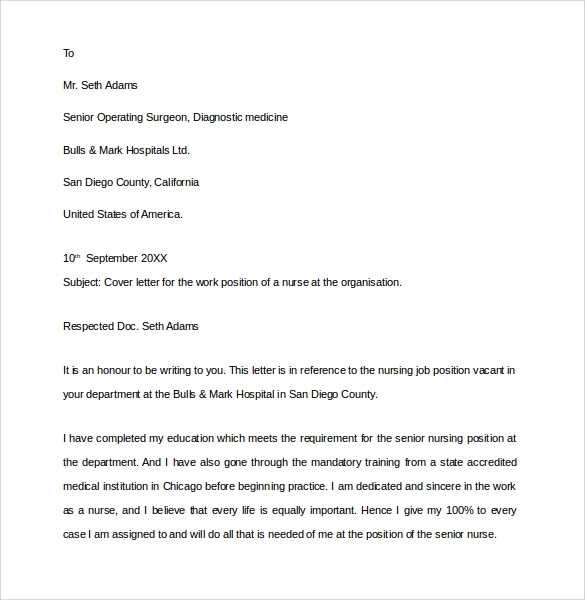 Sample Nurse Cover Letter   Documents In Pdf Word