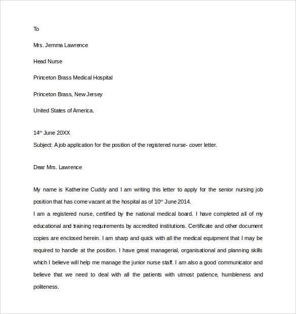 graduate nursing cover letter examples in word pdf free sample resume cover cover letter example nursing - Registered Nurse Resume Cover Letter