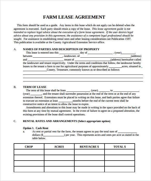free property lease agreement sample