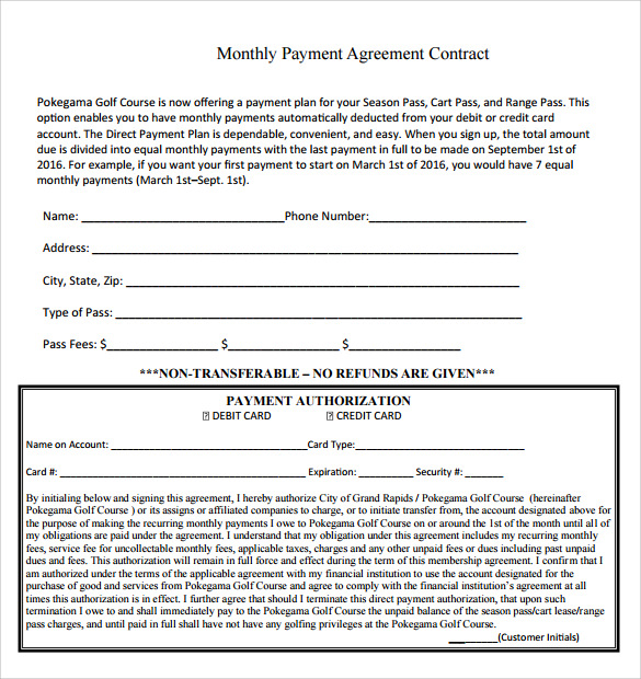 Doc585590 Monthly Payment Contract Template Payment Plan – Monthly Payment Template