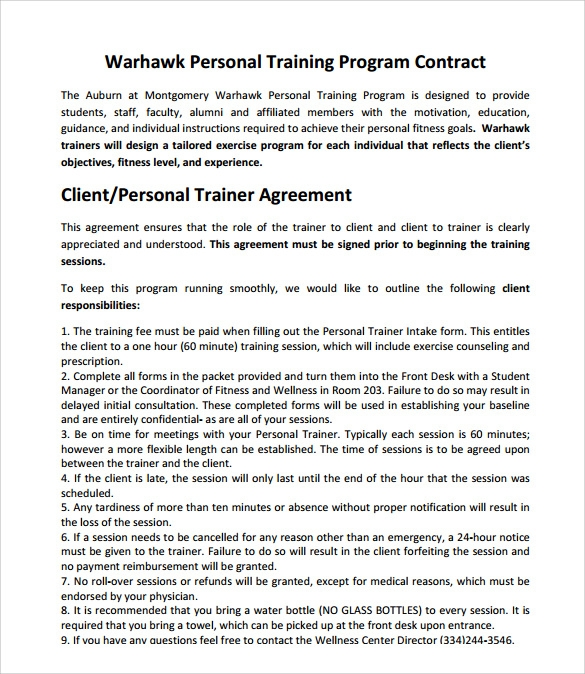 Weight loss programme pdf for Personal trainer contract templates
