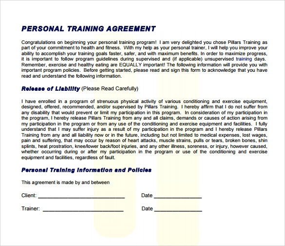 Sample Personal Training Contract Personal Trainer Contract – Training Agreement Template