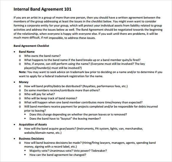 band contract template