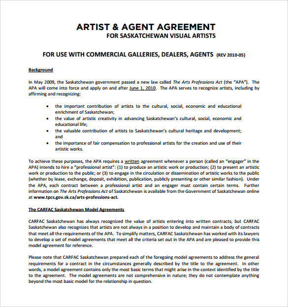 Sample Artist Contract Template   Download Documents In Pdf