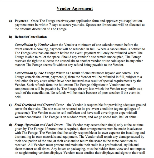 Sample Vendor Contract Template 9 Free Samples Examples Format – Event Agreement Template