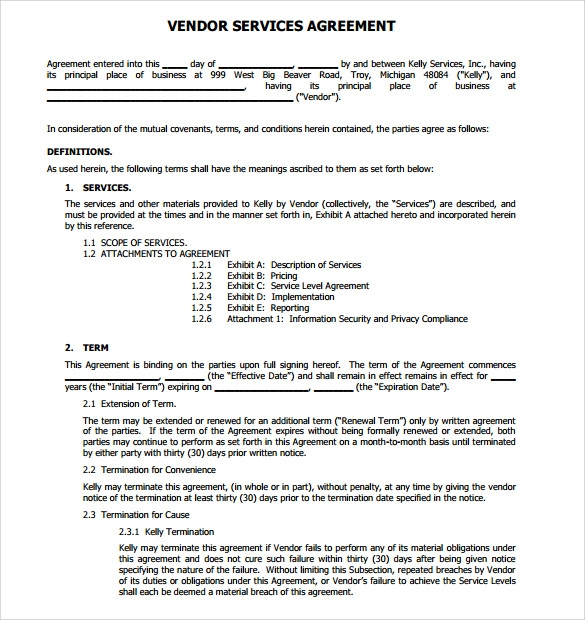 Sample Vendor Contract Template 10 Free Samples Examples Format – Vendor Contract Agreement