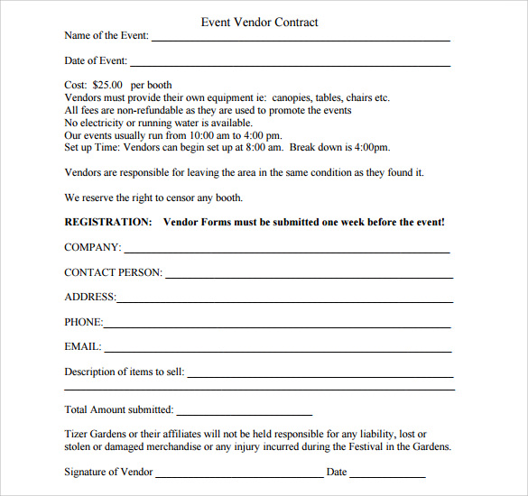 Sample Vendor Contract Template 9 Free Samples Examples Format – Food Vendor Contract