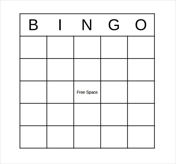 Sample Bingo Card   Documents In Pdf Word