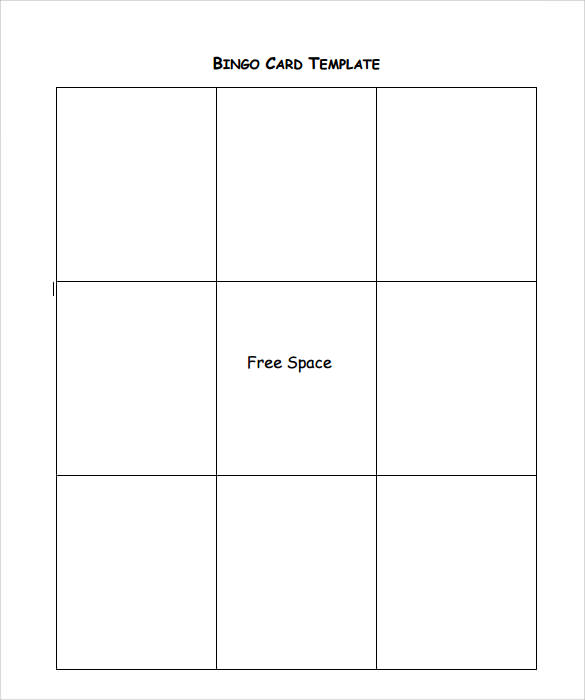 sample bingo card template free