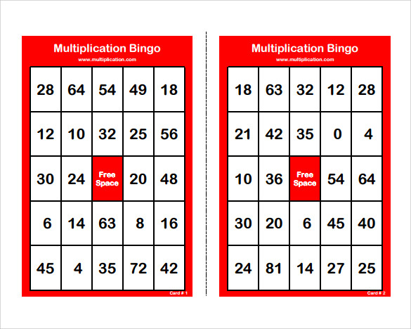 sample number bingo card