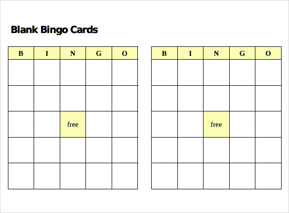 sample bingo card template format
