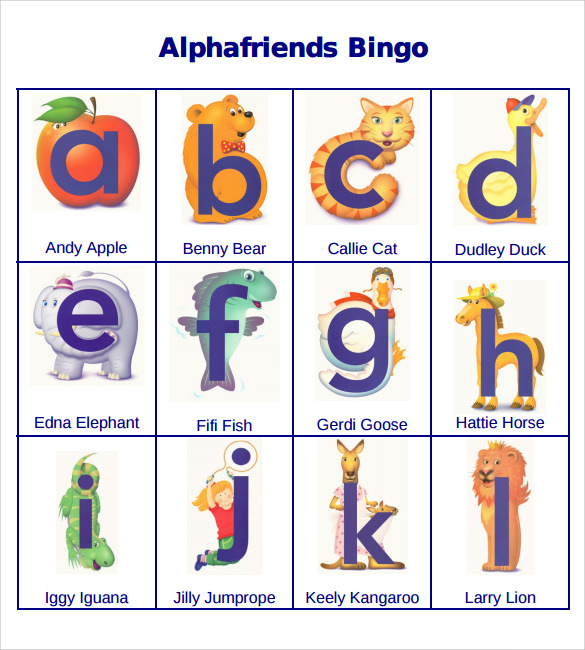 sample alphabetic bingo card template