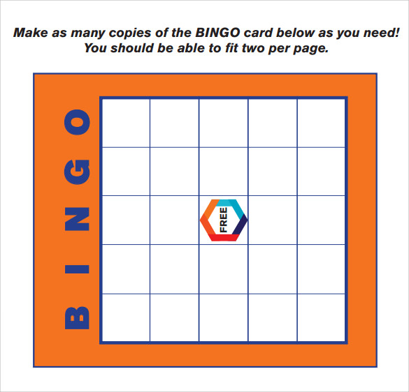 sample blank bingo card