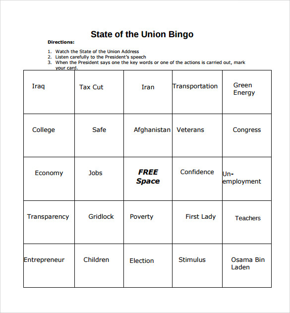 sample bingo card template download