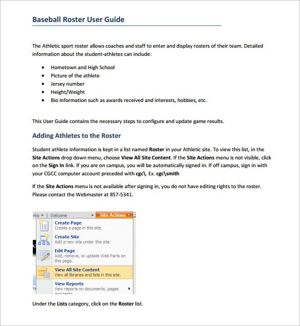 Sample Baseball Roster Guide