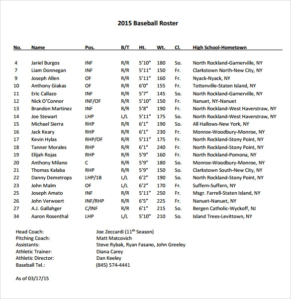 sample baseball roster free example
