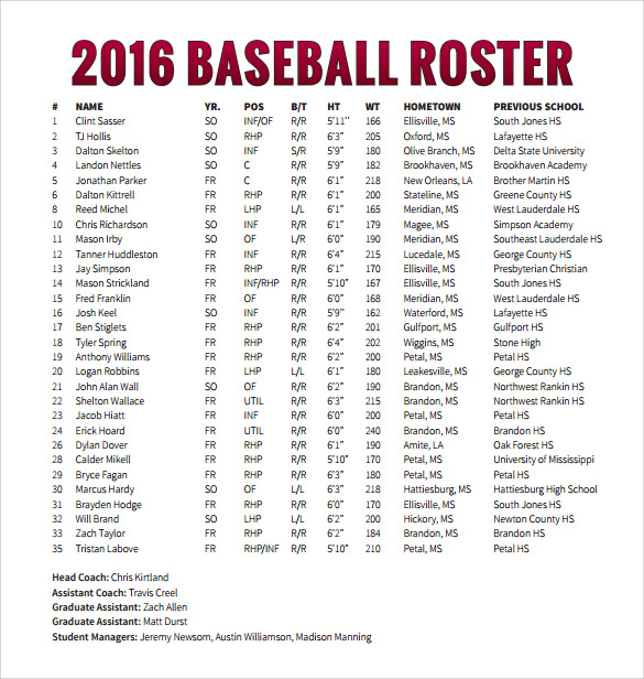 sample baseball roster template format