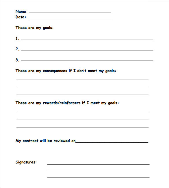 Behavior Contract Template   Free Samples  Examples  Format