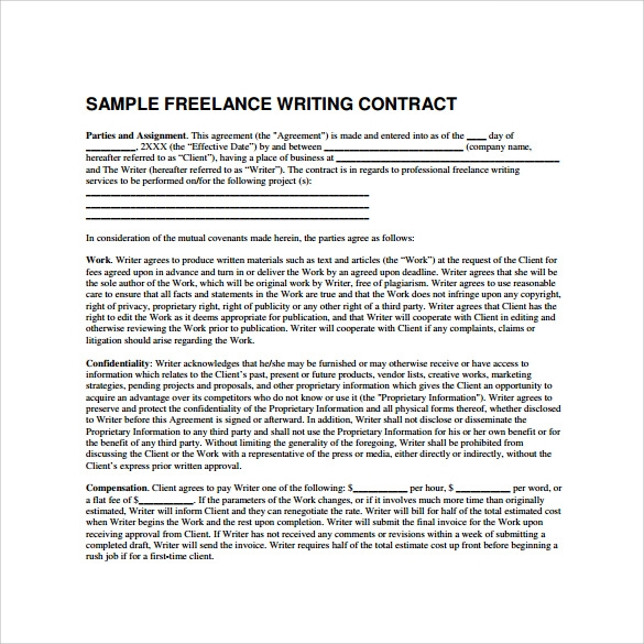 Freelance Contract Template 9 Free Samples Examples Formats – Project Contract Template