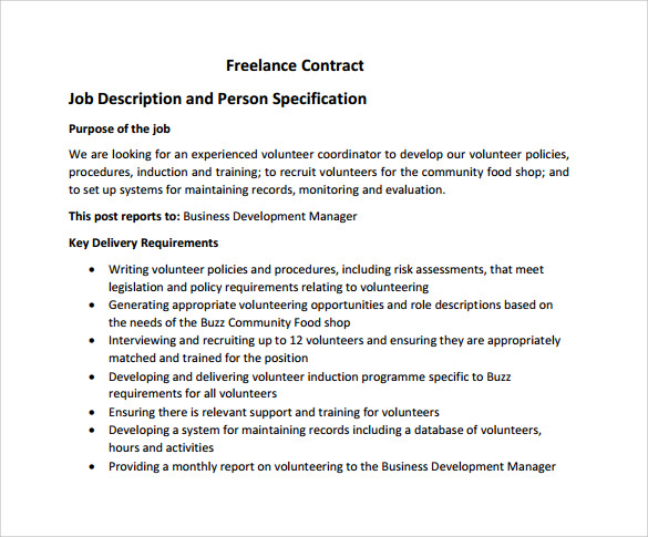 Freelance Contract Template   Free Samples Examples  Formats