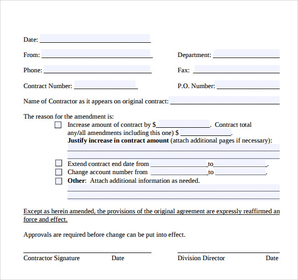 Contract Amendment Template   Free Samples Examples Format