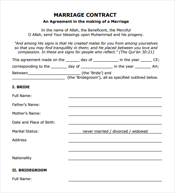 Contract Of Agreement Template