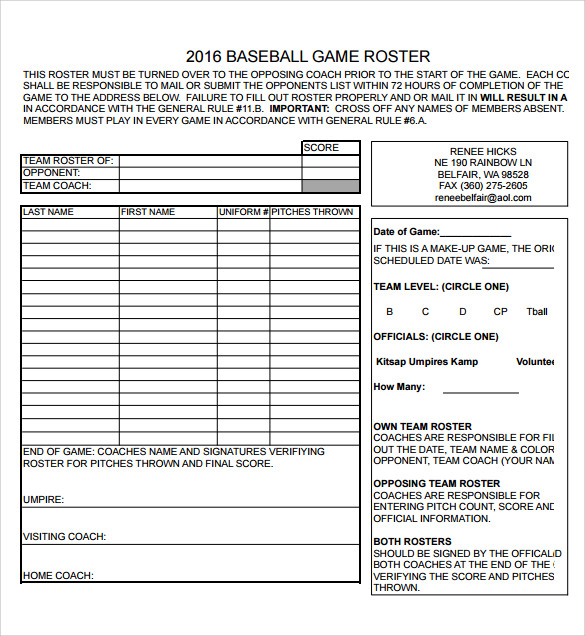 free sample baseball roster