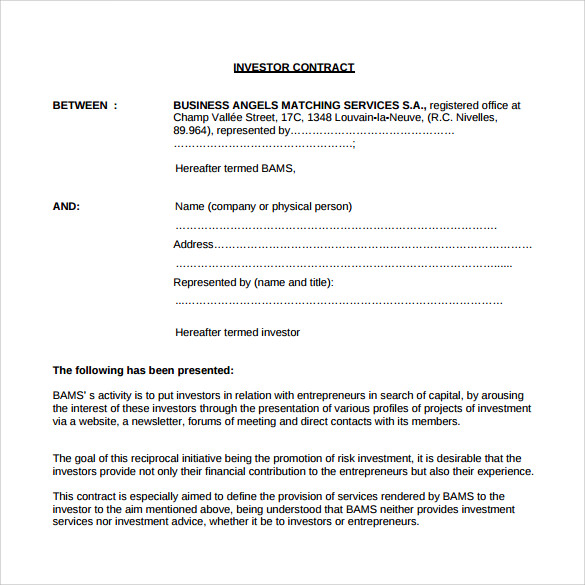 Investment Contract Template   Free Sample Example Formats