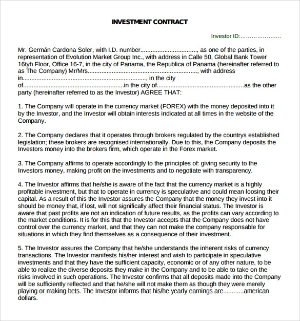 Doc536716 Sample of Investment Agreement Contract Investment – Investors Agreement Template