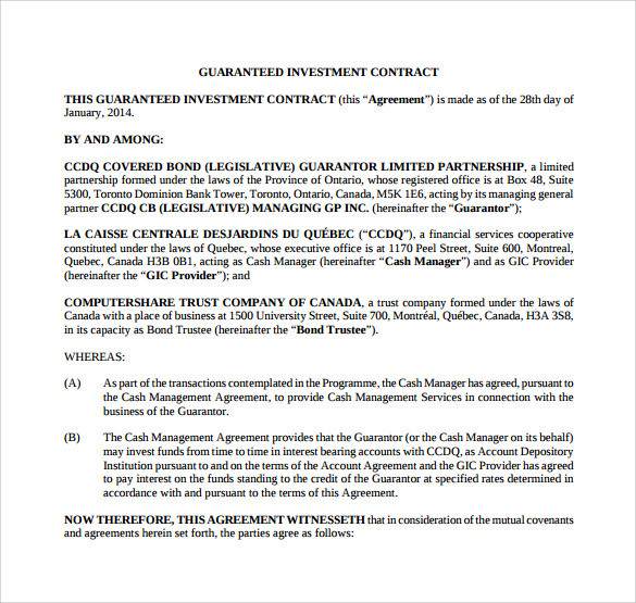 Investment Contract Agreement | Investment Contract Template 9 Sample Word Google Docs Format