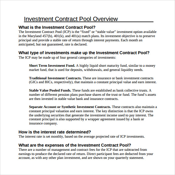 Doc585600 Business Investment Contract 8 Investment Contract – Investors Agreement Template