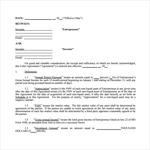 Investment Contract Template 7 Free Sample Example Formats – Investor Contract Template Free