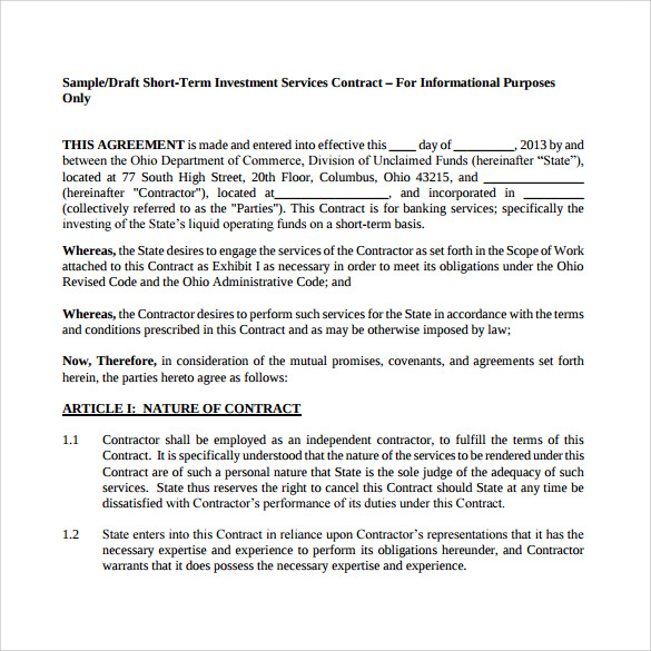 Doc12771652 Investor Contract Sample Doc575709 Investor – Investors Agreement Template
