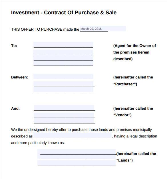 Investment Contract Template - 7+ Free Sample, Example, Formats