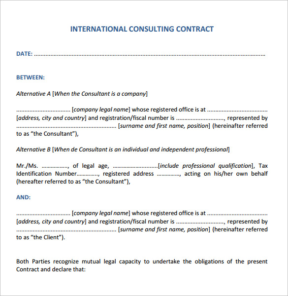 Consulting Contract Template 11 Free Sample Example Format – Consultant Contract Template
