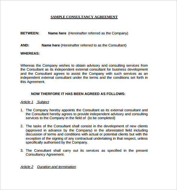 10 consulting contract templates sample example for It consulting contract template