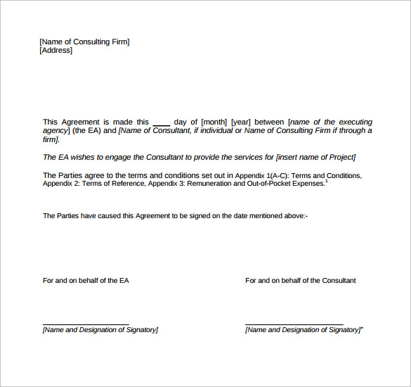 free download consulting contract