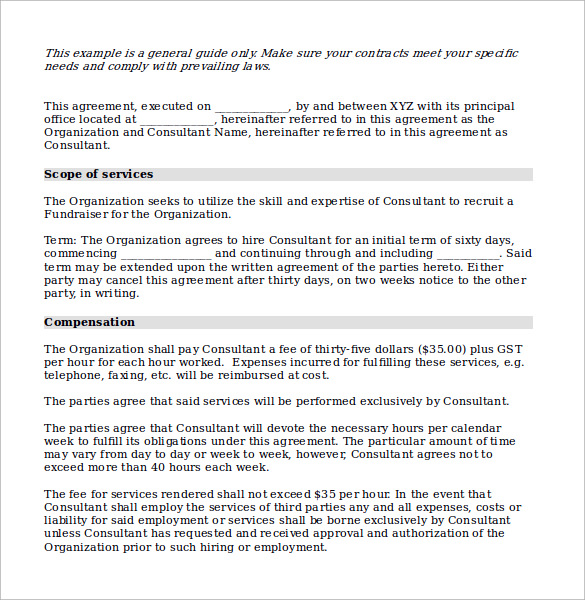 10 consulting contract templates sample example for Consulting contracts templates