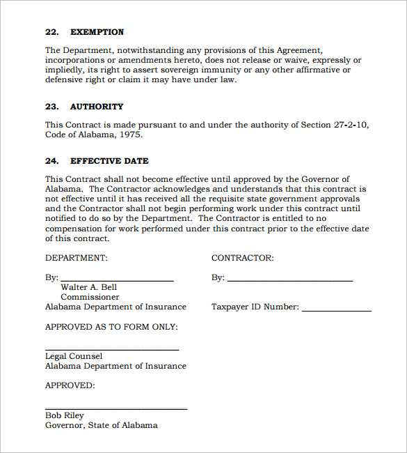 Consulting Contract Template   Free Sample Example Format